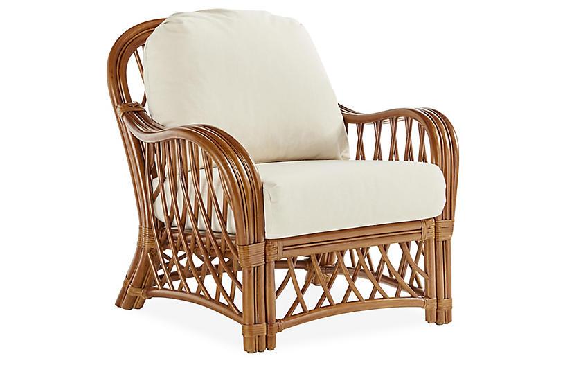 Antigua Rattan Club Chair, Natural/White