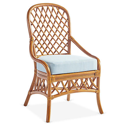 Antigua Rattan Dining Side Chair, Natural/Blue