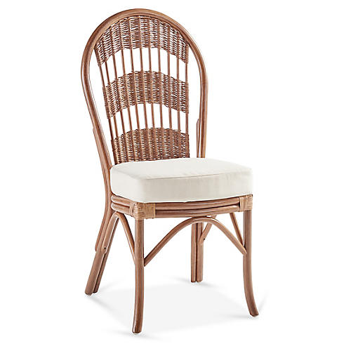 Bermuda Rattan Dining Side Chair, Natural/White