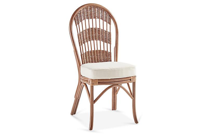 Bermuda Rattan Side Chair, Natural/White
