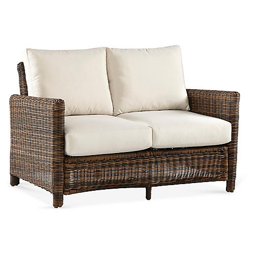Del Ray Wicker Loveseat, Chestnut/Canvas
