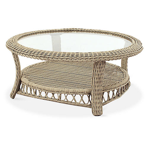 Arcadia Wicker Coffee Table, Driftwood