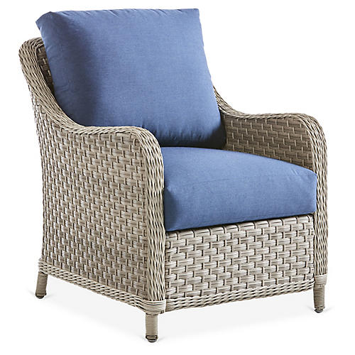 Mayfair Wicker Club Chair, Gray/Blue