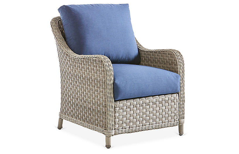 Mayfair Wicker Club Chair, Gray/Blue