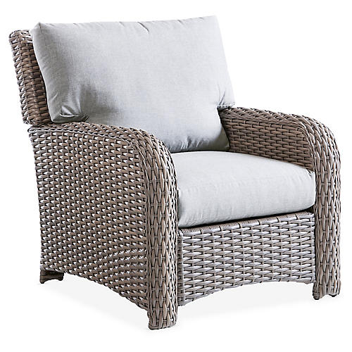 St. Tropez Wicker Club Chair, Gray/Silver