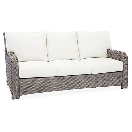 St. Tropez Wicker Sofa, Gray/Canvas