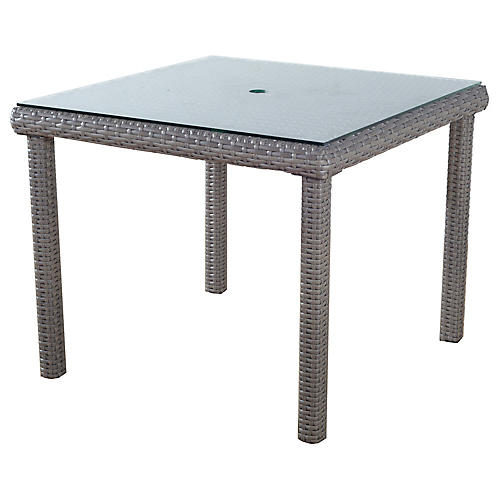 St. Tropez Wicker Square Dining Table, Gray