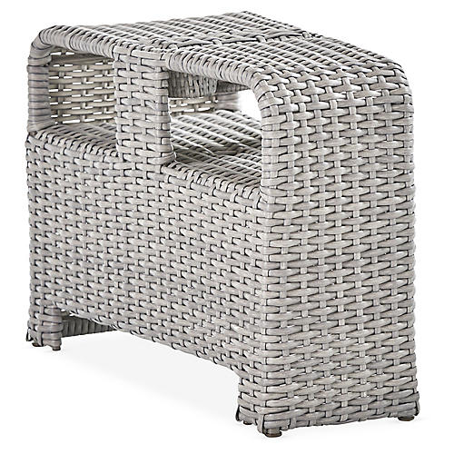 St. Tropez Wicker Pie Table, Gray