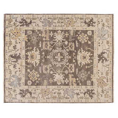 """8'x9'10"""" Oushak Hand-Knotted Rug, Light Brown"""