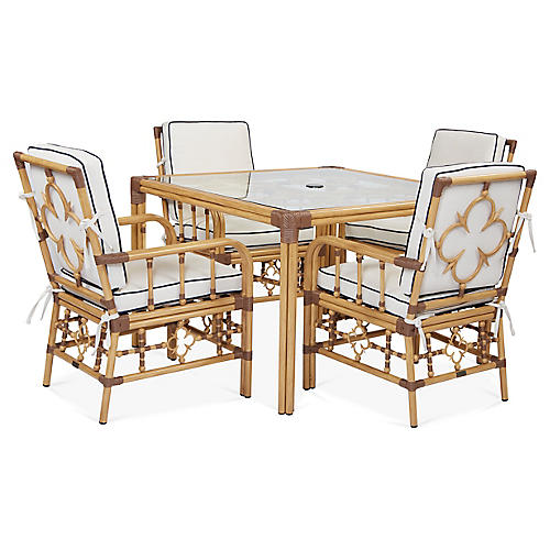Mimi 5-Pc Dining Set, White/Navy Sunbrella