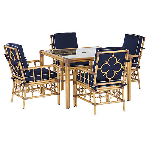 Mimi 5-Pc Dining Set, Navy/White Sunbrella
