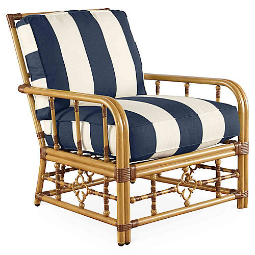 Mimi Lounge Chair, Navy Stripe Sunbrella