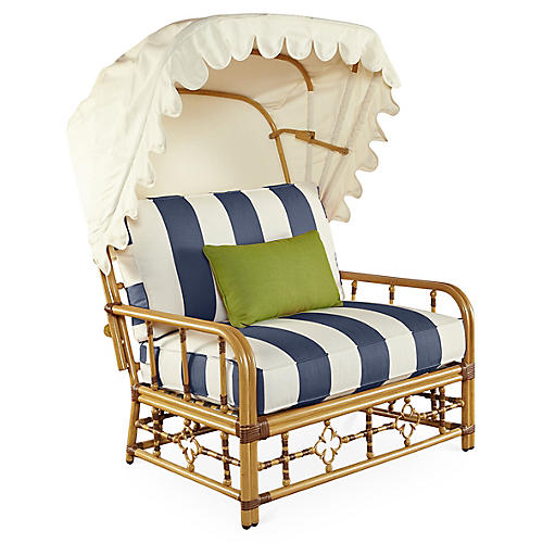 Mimi Cuddle Chair & Canopy, Navy Stripe Sunbrella