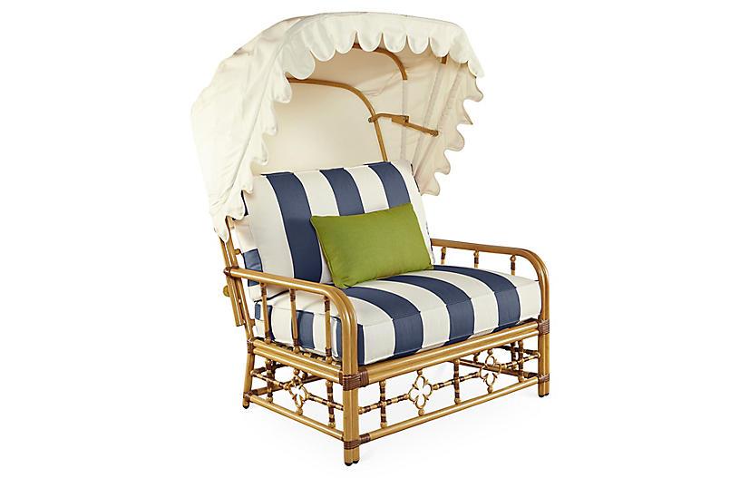 Mimi Cuddle Chair & Canopy, Navy Stripe Sunbrella