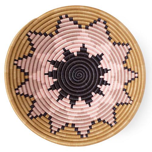 "12"" Zinnia Plateau Basket, Pink/Navy"