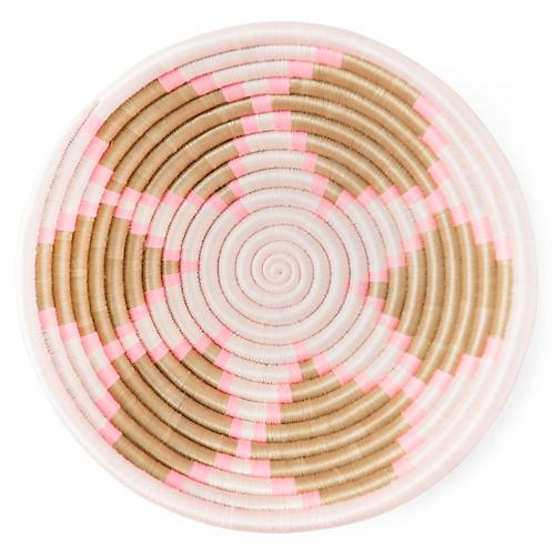 """12"""" Flower Plateau Basket, Olive/Pink"""