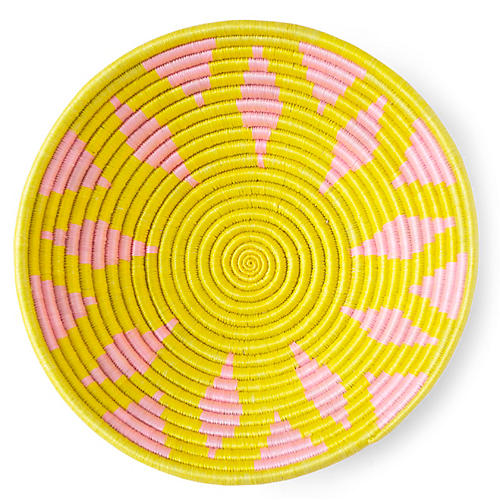 "12"" Flora Plateau Basket, Neon Yellow/Pink"