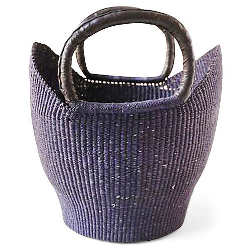 "13"" Bolga Basket w/ Leather Handle, Navy/Black"