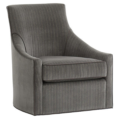Fraser Swivel Accent Chair, Gray/Silver Velvet