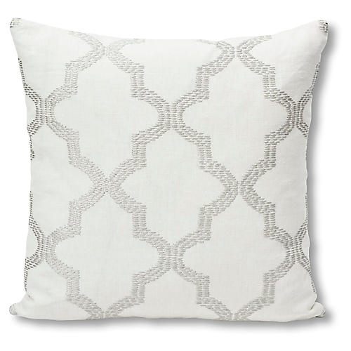 Tangier 18x18 Pillow, Ivory/Silver Linen