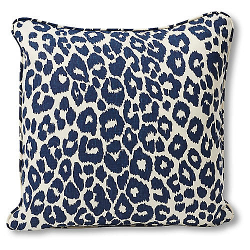 Leopard Pillow, Navy/White Linen