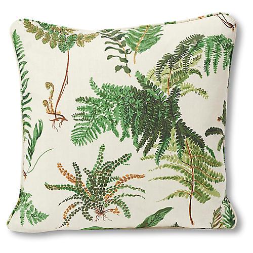 Les Fougeres 18x18 Pillow, Ivory/Green Linen