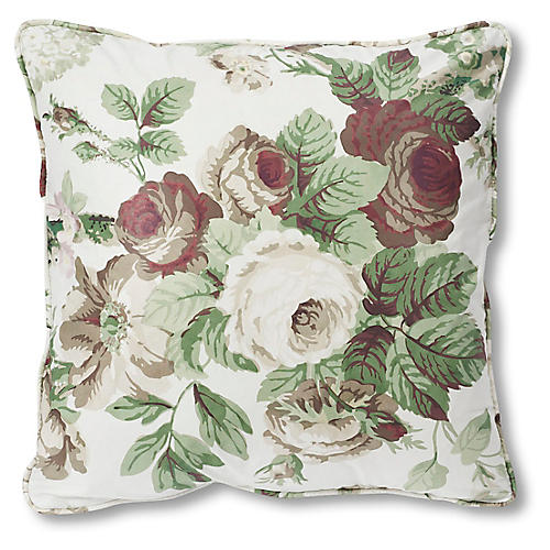 Nancy 18x18 Pillow, Green/Maroon Floral
