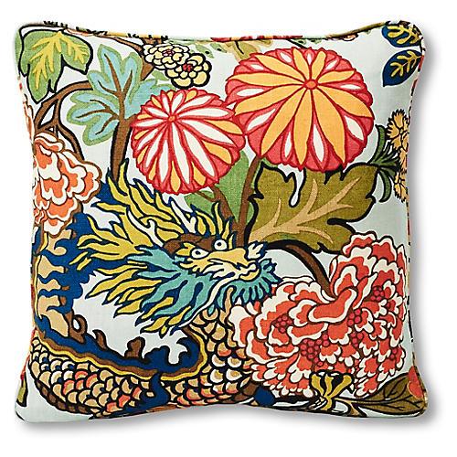 Dragon 18x18 Pillow, Aquamarine Linen