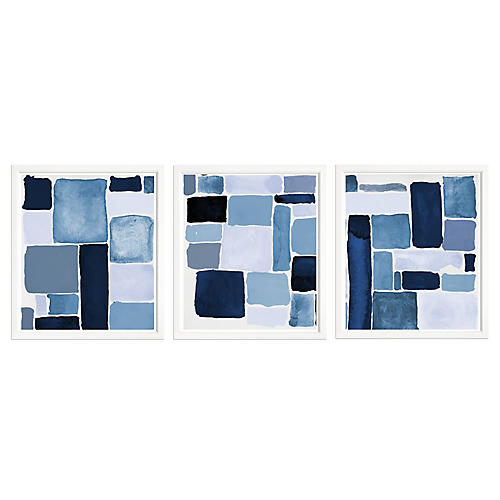 S/3 Blue Abstract Triple