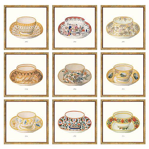 9-Pc British Teacups, 9-Pc British Teacups