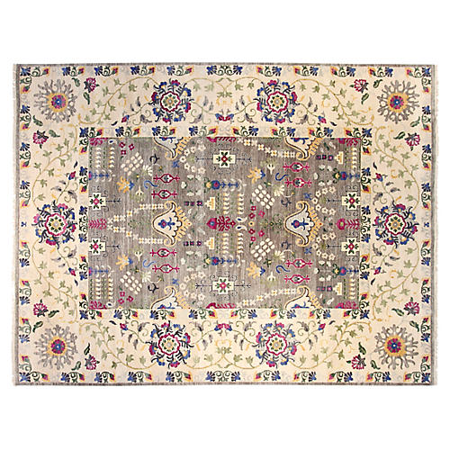 10'x14' Sari Wool Suzani Rug, Gray/Ivory