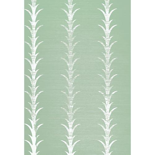 Acanthus Stripe Wallpaper, Sea Glass/Chalk