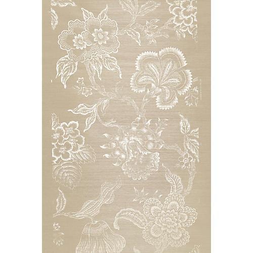 Hothouse Flowers Sisal Wallpaper, Fog/Chalk