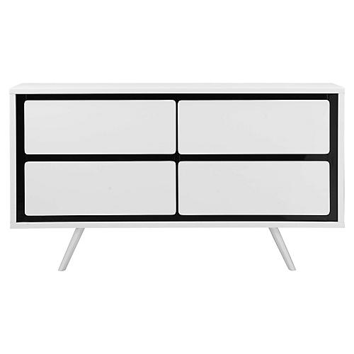 Hal 4-Drawer Dresser, White/Black