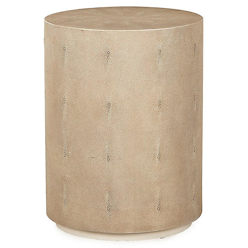 Ayden Faux-Shagreen Side Table, Sand