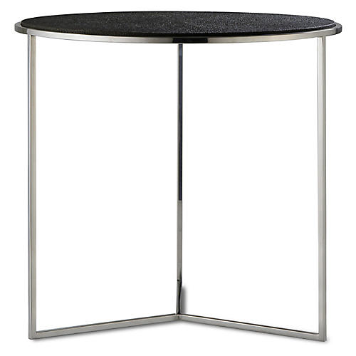 Nathan Faux-Shagreen Side Table, Charcoal