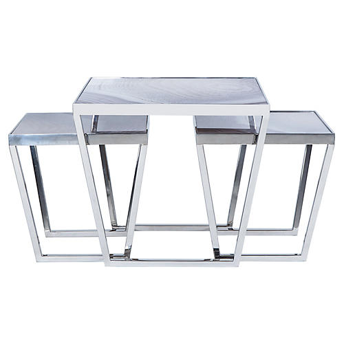Asst. of 3 Jaxson Nesting Tables, Taupe/Gray