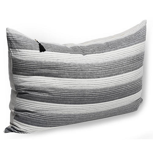 Cortina 24x36 Wide Pillow, Black Linen