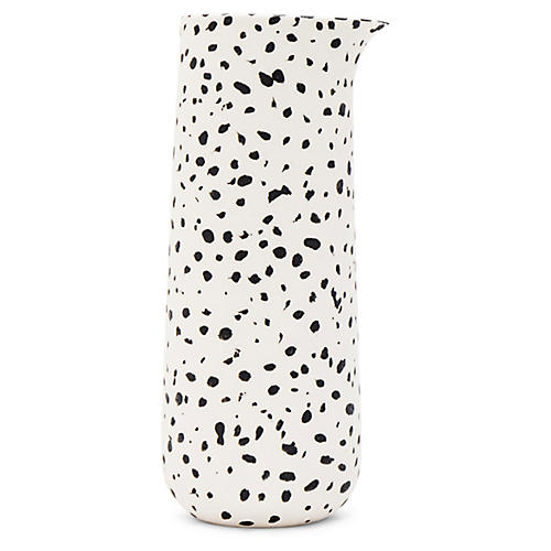 Finca Speckled Pitcher, White/Black