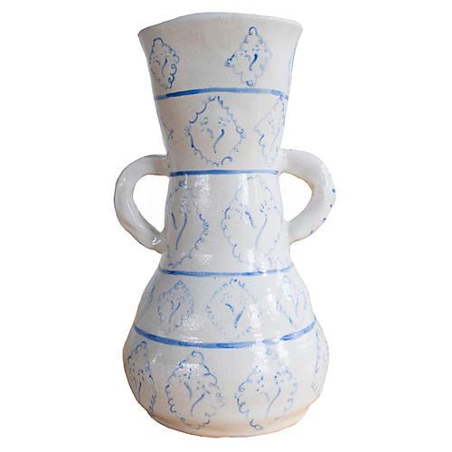 """9"""" Whimsical Diamond Flowers Vase, Off-White"""