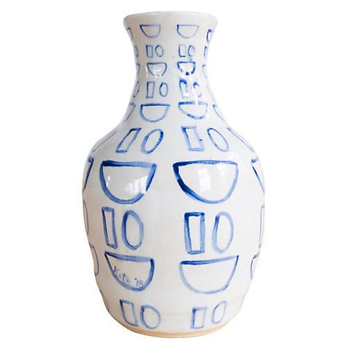 """6"""" Smile Vase, Off-White/Indigo"""