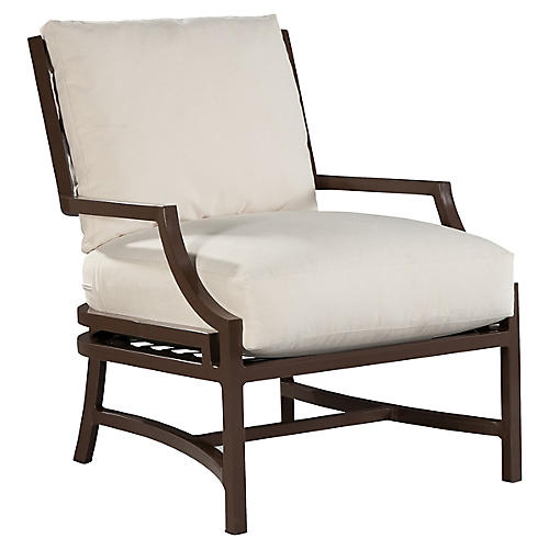 Redington Lounge Chair, Brown/Natural Sunbrella