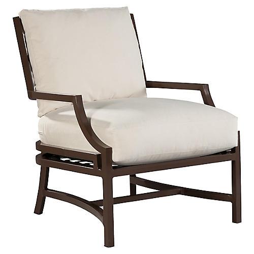 Redington Lounge Chair, Brown/Natural Sunbrella