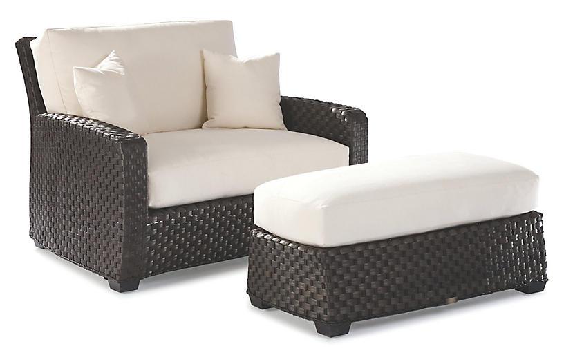 Leeward Cuddle Chair, Brown/Natural Sunbrella