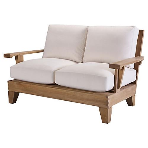 Saranac Loveseat, Natural Sunbrella
