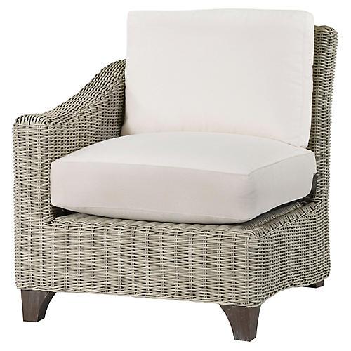 Requisite Left-Arm Chair, Bone/Natural Sunbrella