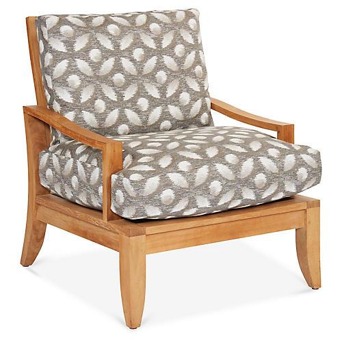 Aura Teak Lounge Chair, Gray Floral Sunbrella