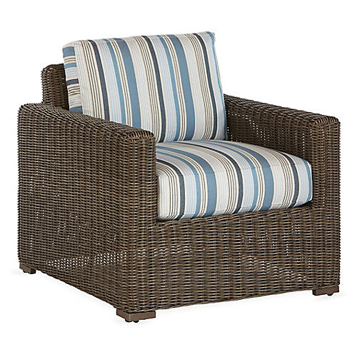 Fillmore Lounge Chair, Blue Stripe Sunbrella