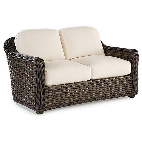 South Hampton Loveseat, Natural Sunbrella