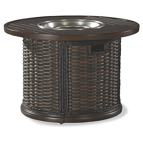 South Hampton Round Fire Pit, Brown/Silver